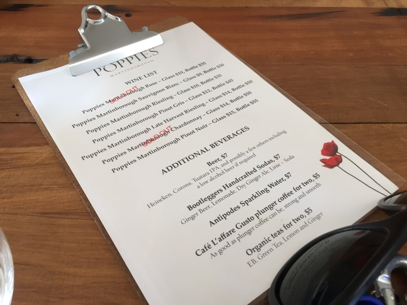 Poppies wine list